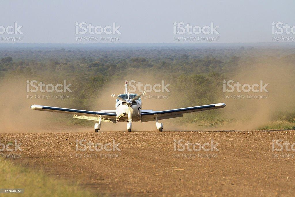 Landing on a bush airstrip in Botswana stock photo