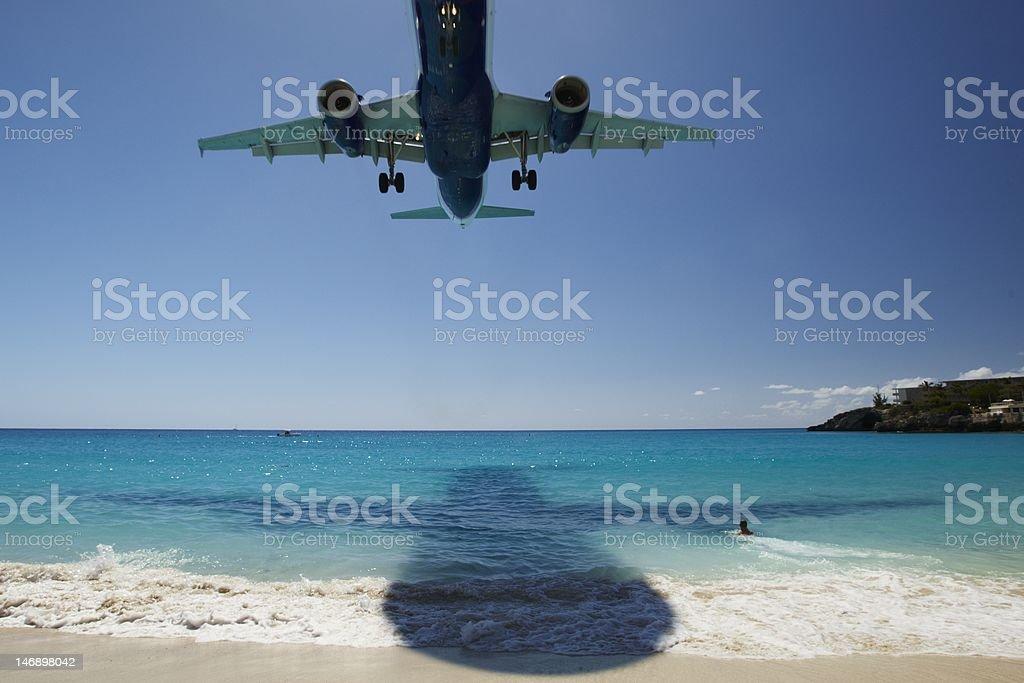 Landing on the Saint Maartens beach stock photo