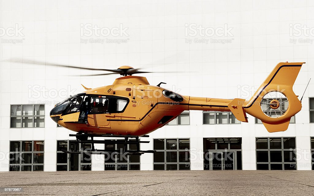 landing orange emergency helicopter royalty-free stock photo