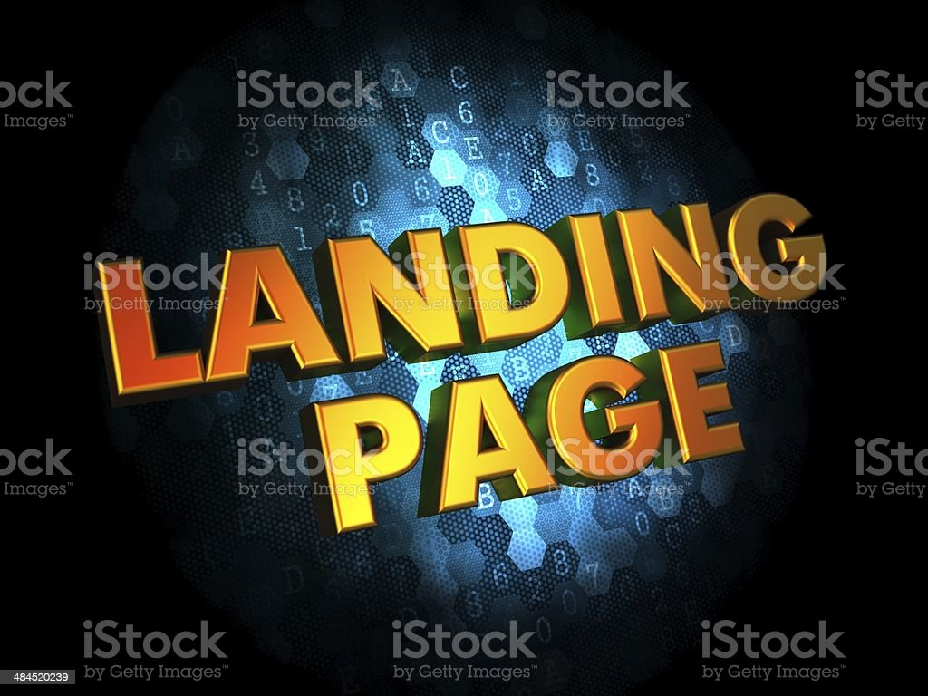Landing Page Concept on Digital Background. stock photo