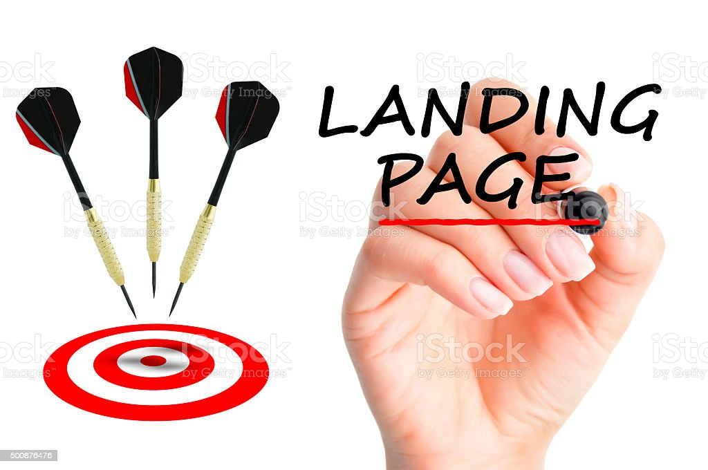 Landing page concept with darts arrows and a target stock photo