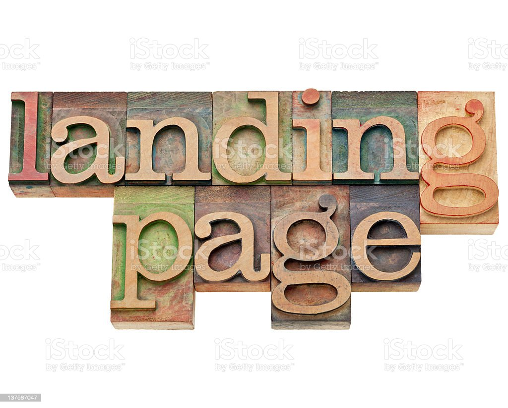landing page - internet and SEO concept stock photo