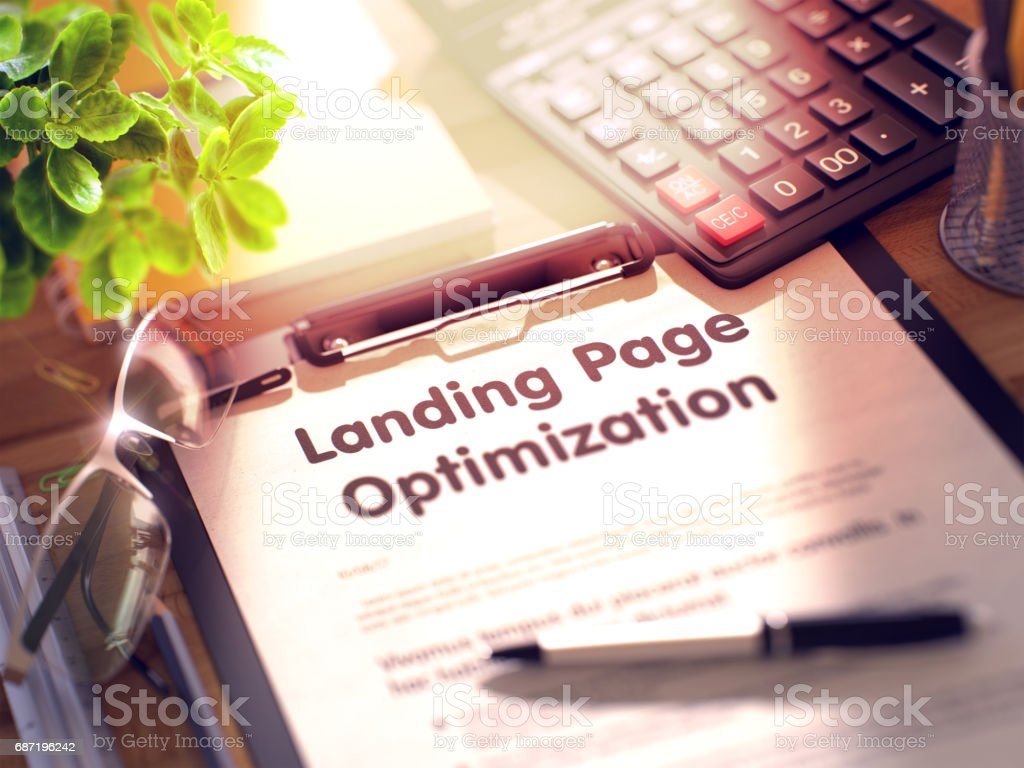 Landing Page Optimization Concept on Clipboard. 3D stock photo