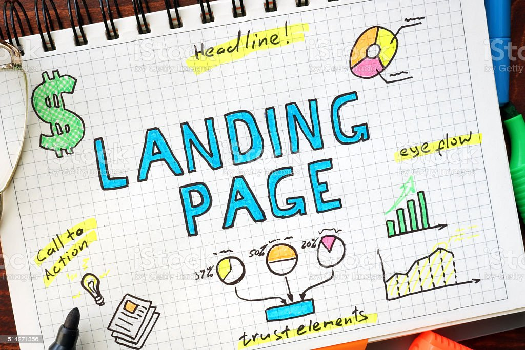 Landing page written in a notebook. SEO concept. stock photo