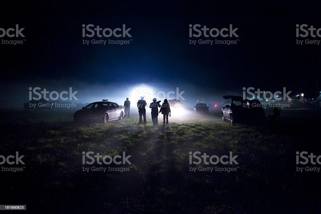 UFO landing stock photo