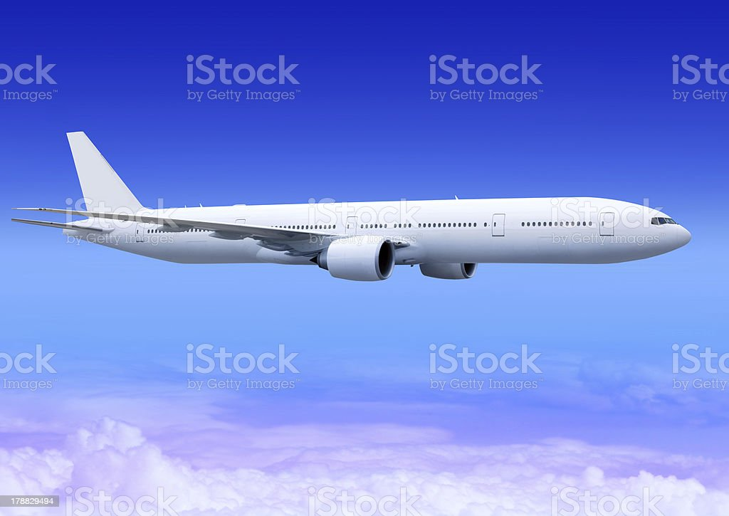 landing plane over clouds stock photo