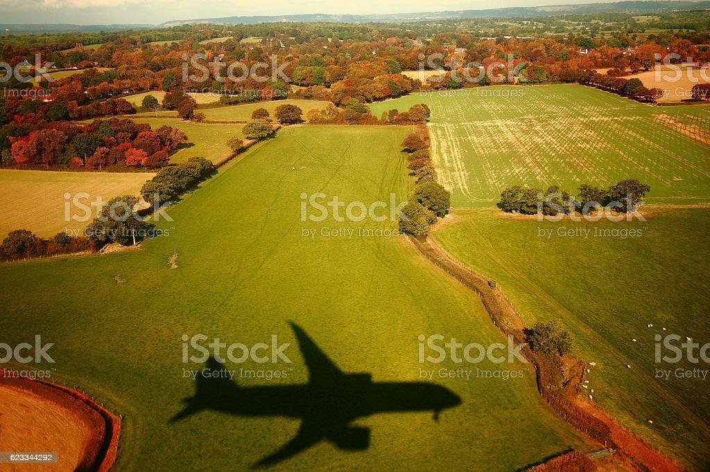 Landing shadow stock photo