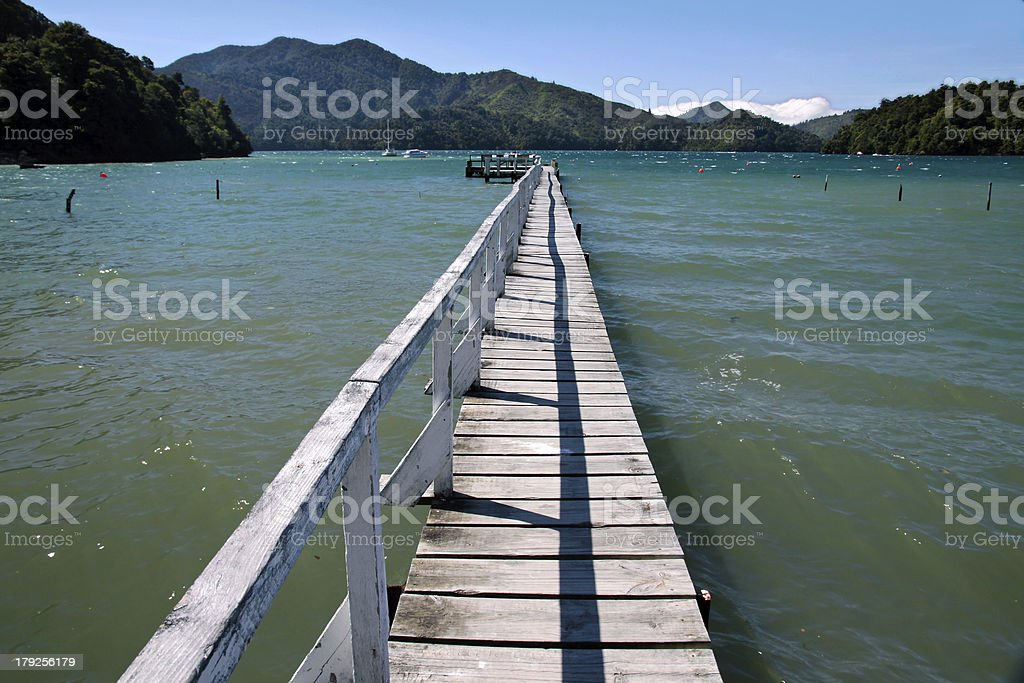 Landing stage in the Marlborough Sounds royalty-free stock photo