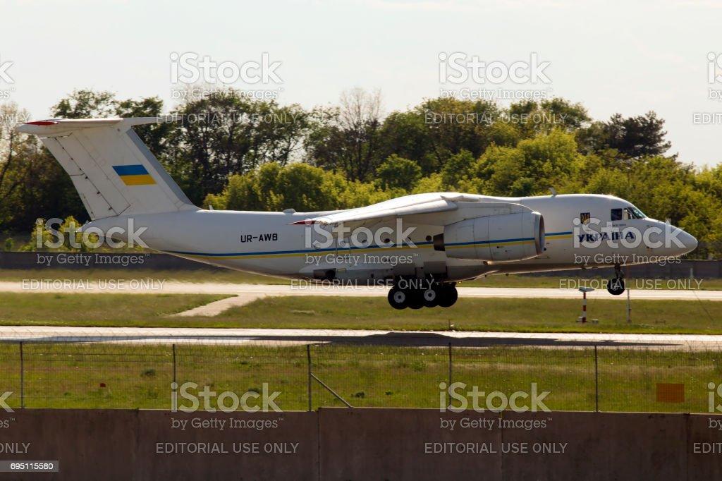 Landing Ukraine Government Antonov An-74TK-300D stock photo