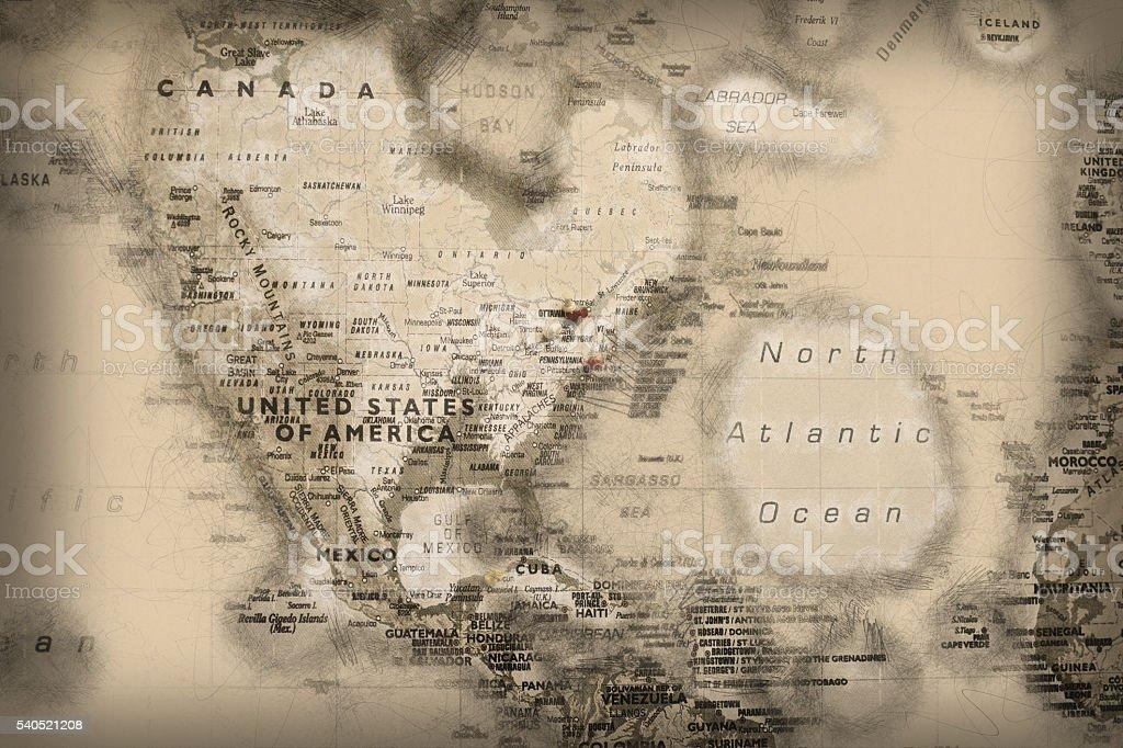 Landkarte alt gezeichnet stock photo