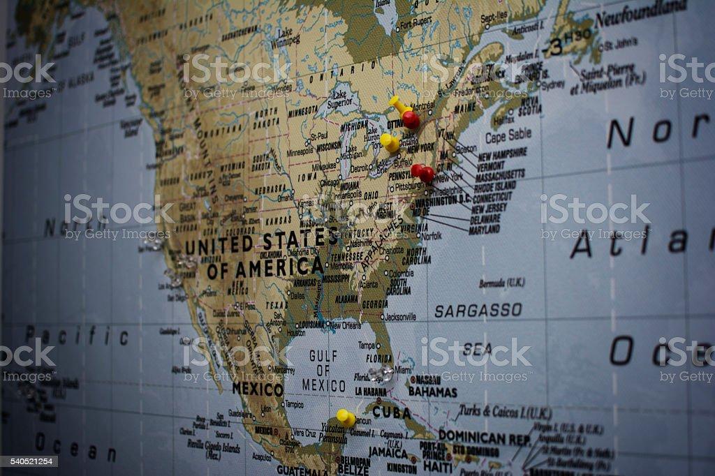 Landkarte von USA stock photo