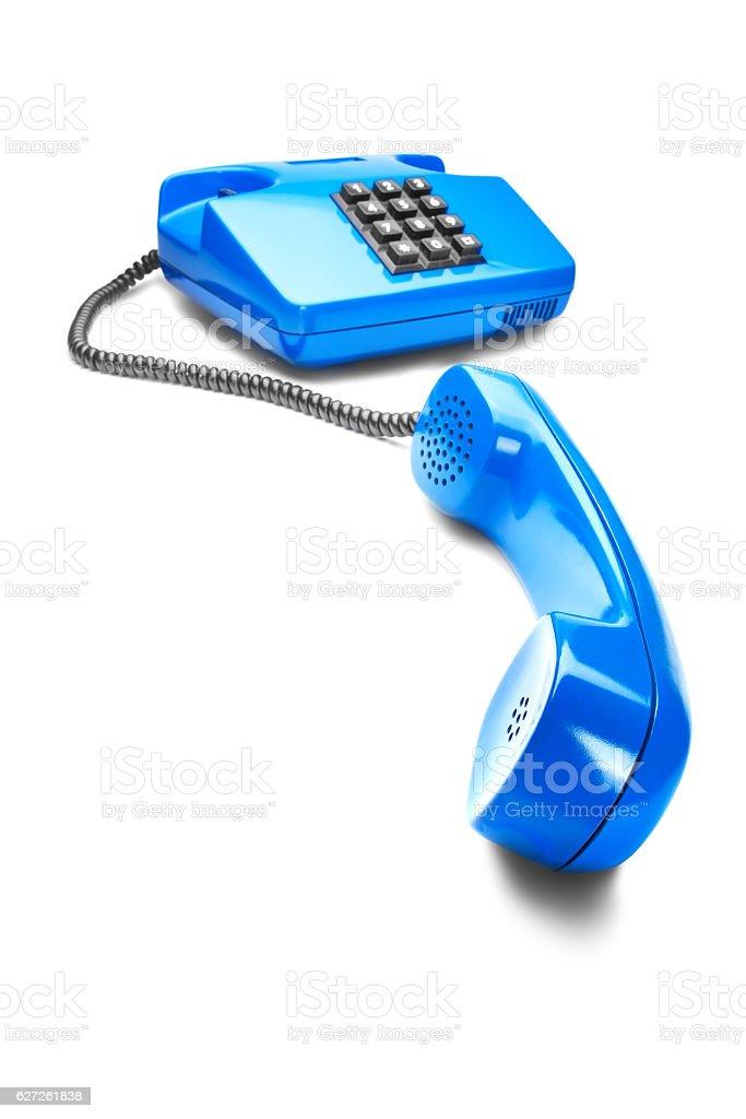 landline phone in blue  on isolated white background stock photo