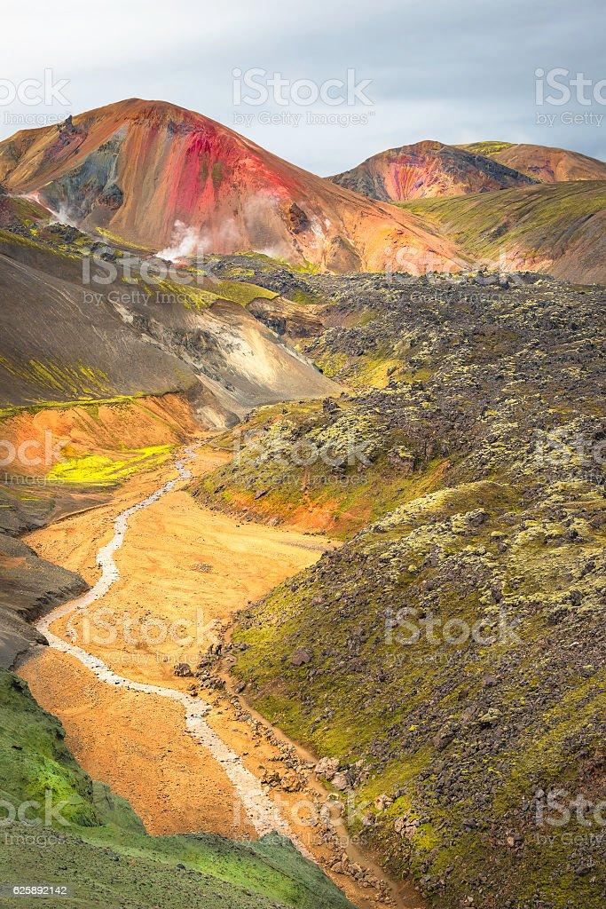 Landmannalaugar colorful  mountains in Iceland, summer time stock photo