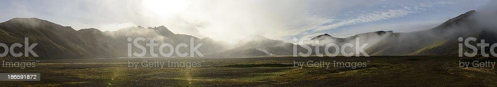 Landmannalaugar fog panorama royalty-free stock photo