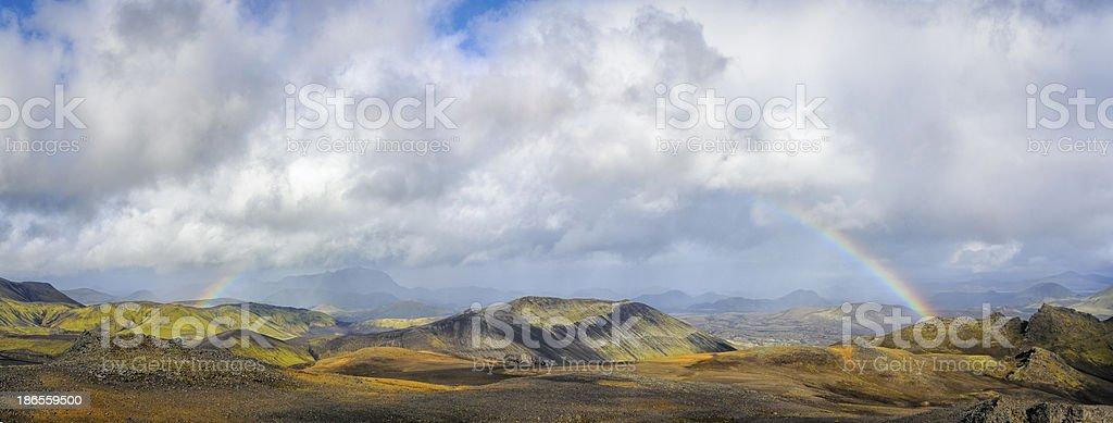 Landmannalaugar mountain rainbow panorama stock photo
