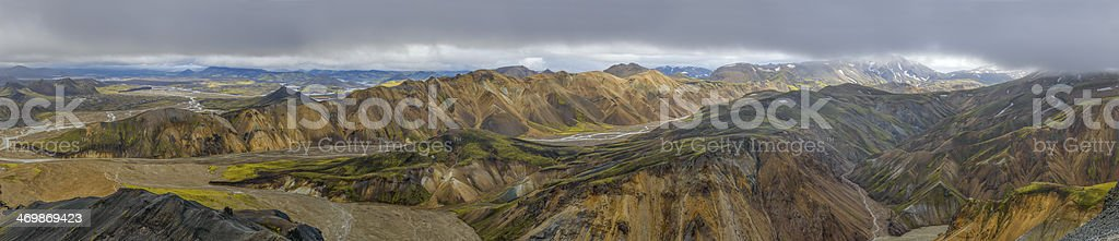 Landmannalaugar mountain view panorama stock photo