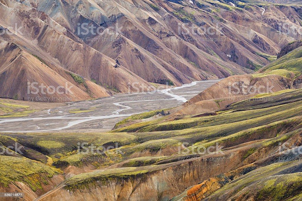 Landmannalaugar mountains in Iceland. stock photo