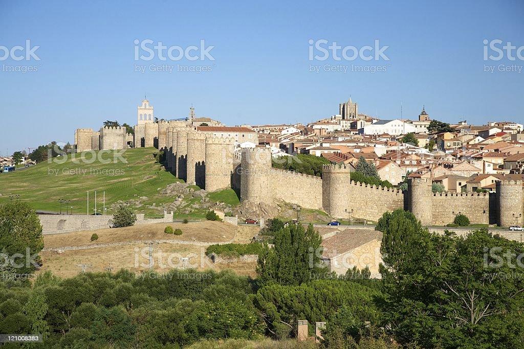 landmark Avila city monument fortress wall battlement World Heritage stock photo