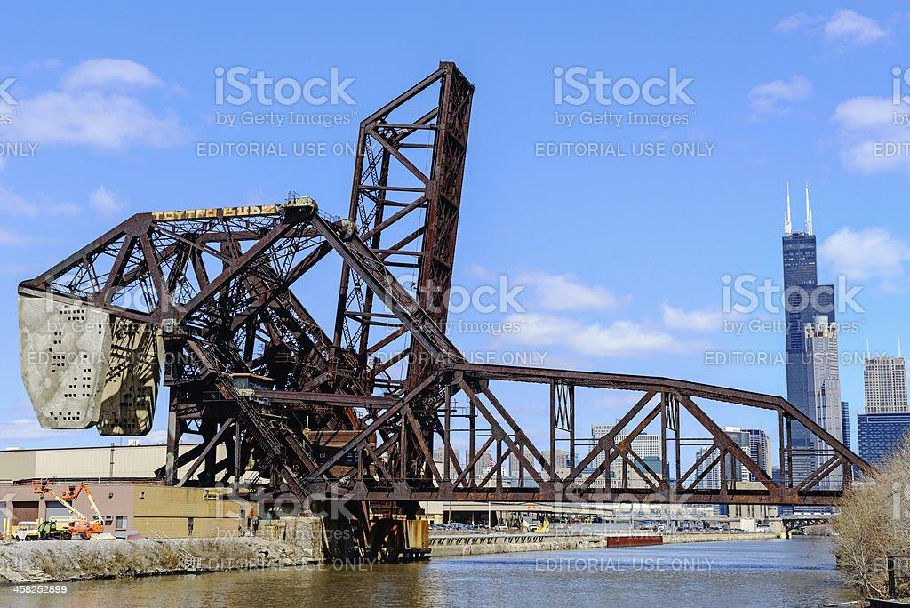 Landmark Bascule Railway Bridge in Chicago royalty-free stock photo