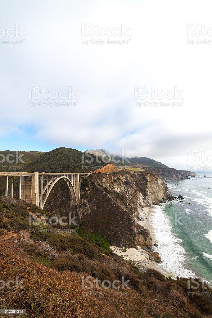 Landmark Bixby Creek Bridge in Big Sur, California stock photo