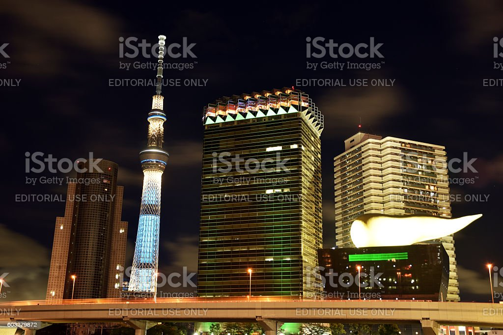 Landmark buildings including Tokyo Sky Tree along the Sumida RIver stock photo
