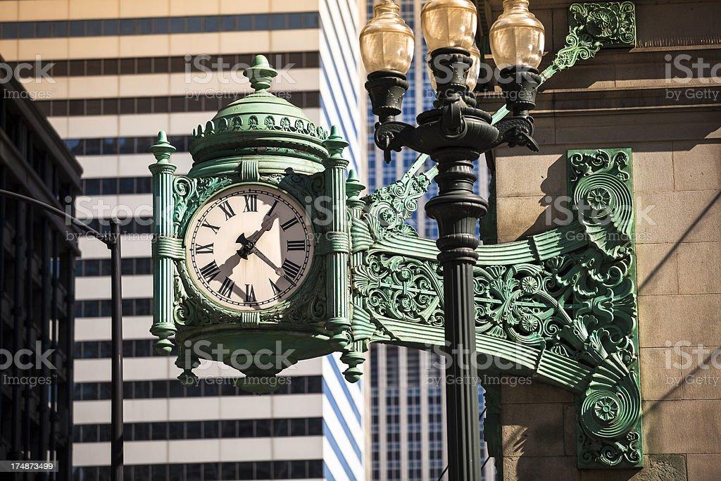 Landmark Chicago clock royalty-free stock photo