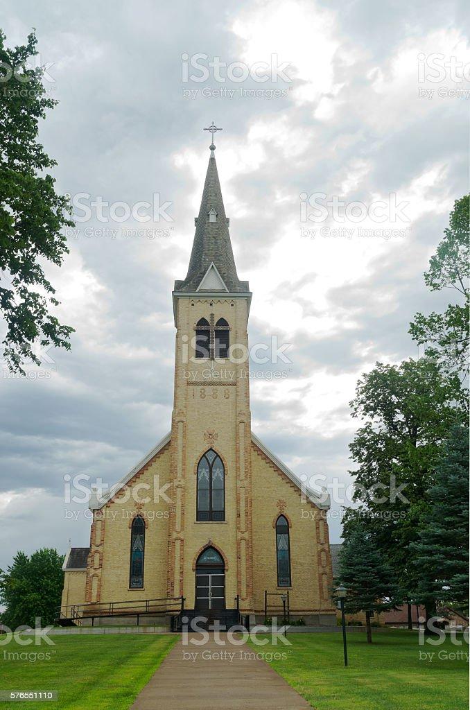 Landmark Church in Pierz Minnesota stock photo