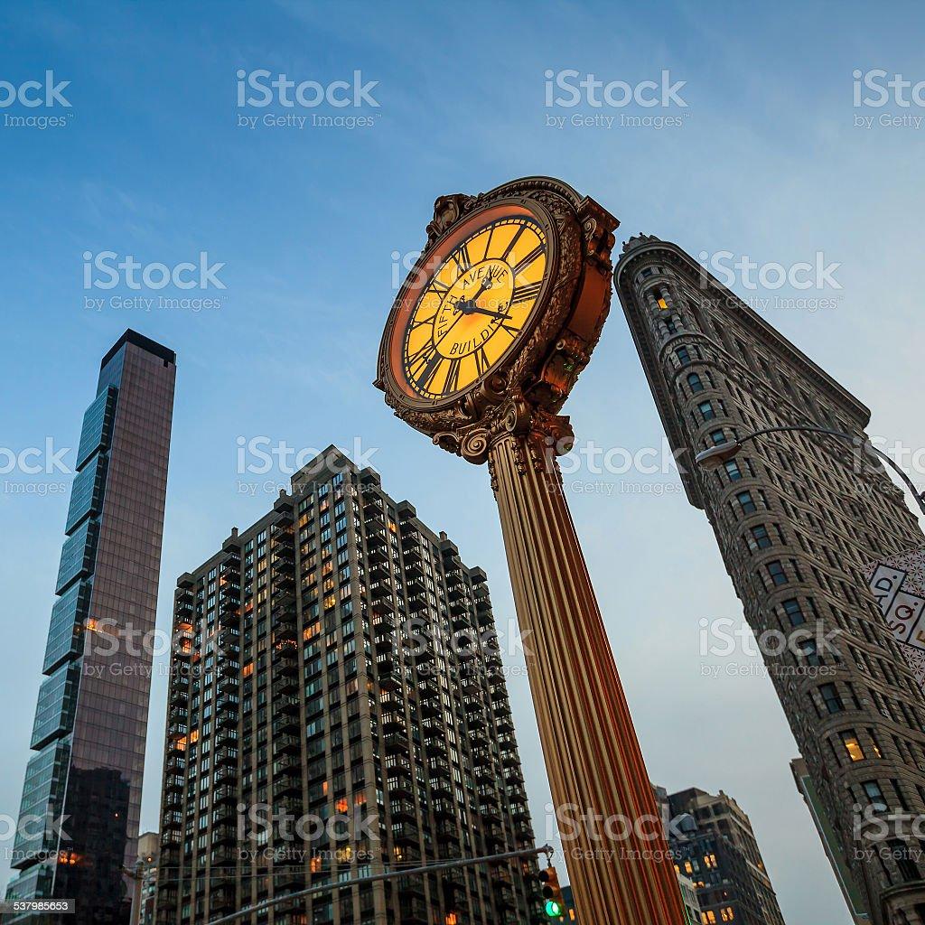 Landmark Fifth Avenue cast iron sidewalk clock stock photo