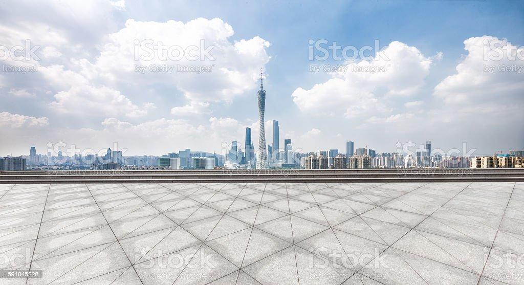 landmark guangzhou tower from empty floor stock photo