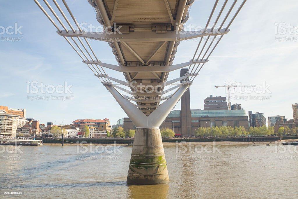 Landmark in London - Millenium Bridge stock photo