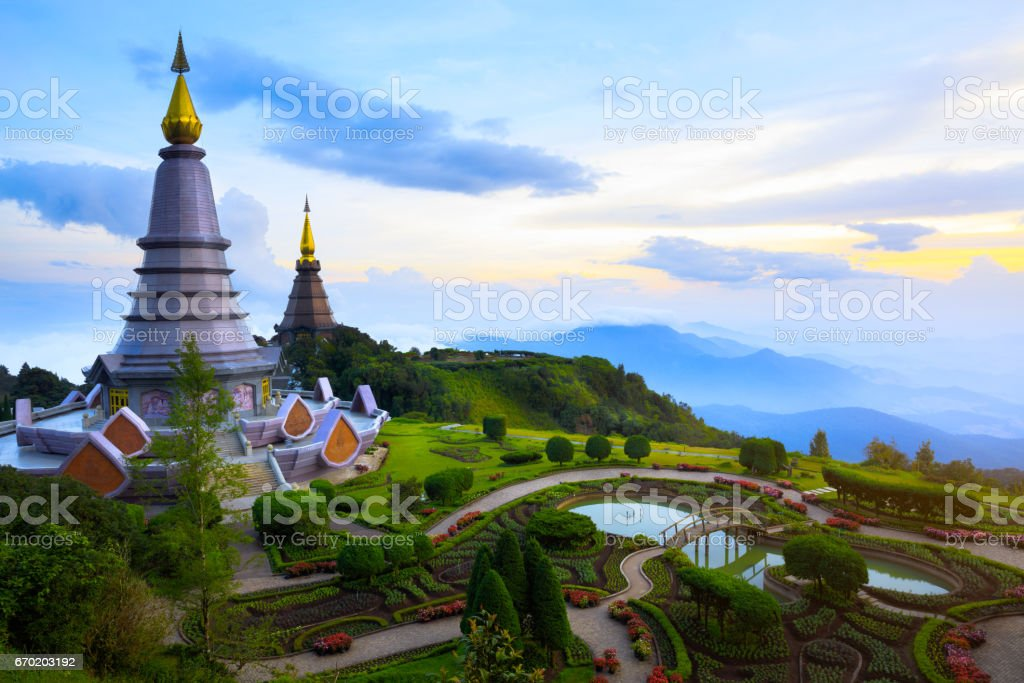 Landmark landscape pagoda stock photo
