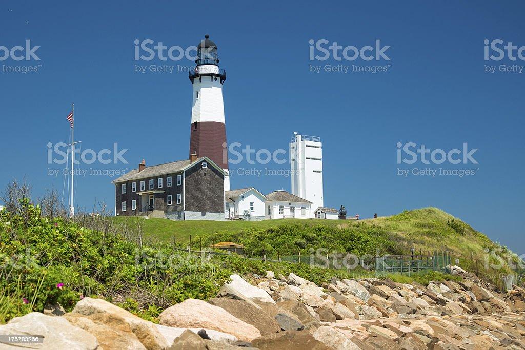 A landmark lighthouse in Montauk New York stock photo