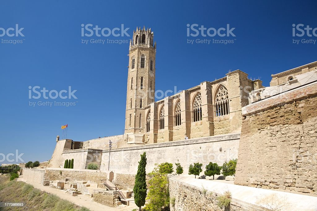landmark monument romanesque cathedral church in Lleida Catalonia Spain stock photo