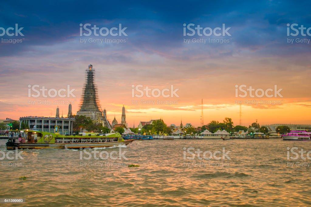 Landmark of bangkok Temple of Wat Arun, in Bangkok, Thailand stock photo