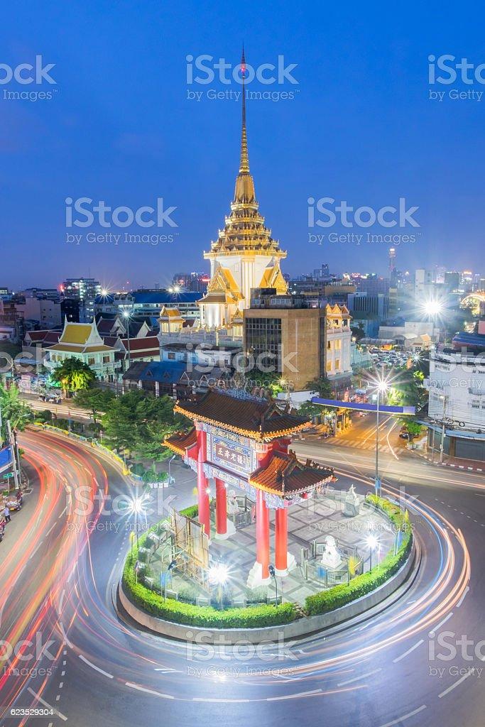 Landmark of Chinatown (Odeon Circle) in Bangkok Thailand stock photo