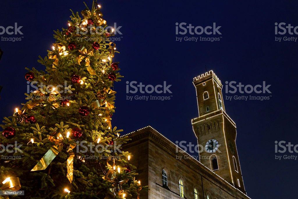 landmark of Fuerth at night stock photo