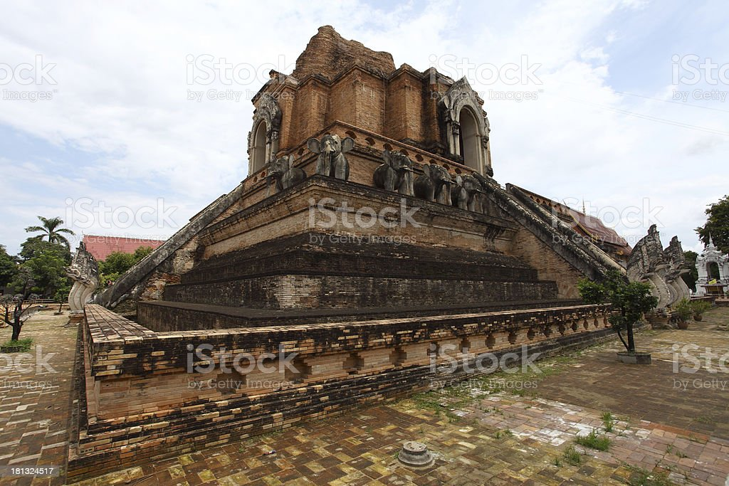 Landmark of Wat Chedi Luang temple in Chiang Mai, Thailand. stock photo
