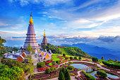 Landmark pagoda in doi Inthanon national park at Chiang mai.