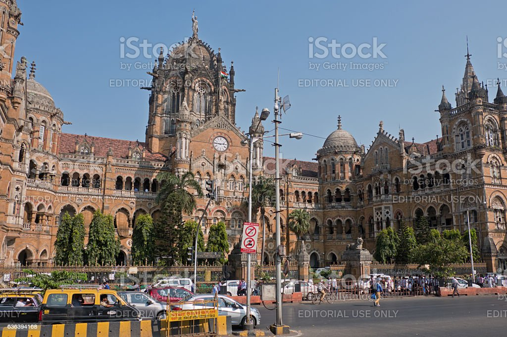 Landmark railway building in Mumbai stock photo