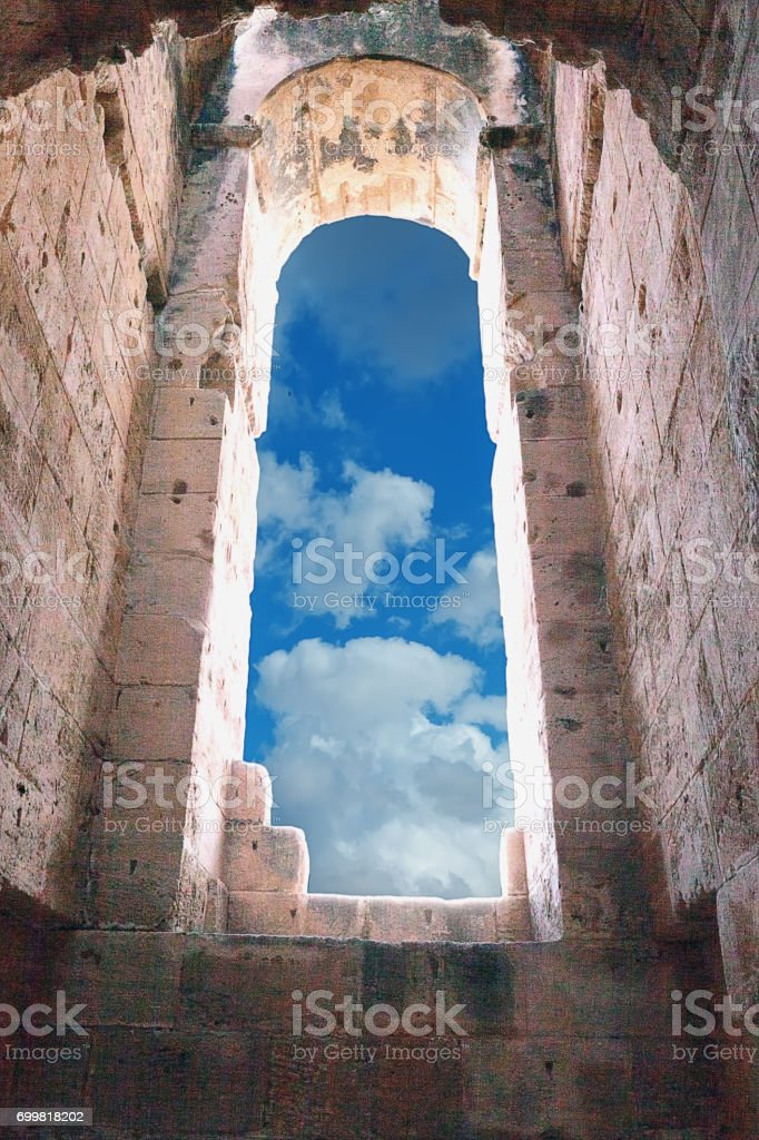 Landmark Roman amphitheater in El Jem stock photo