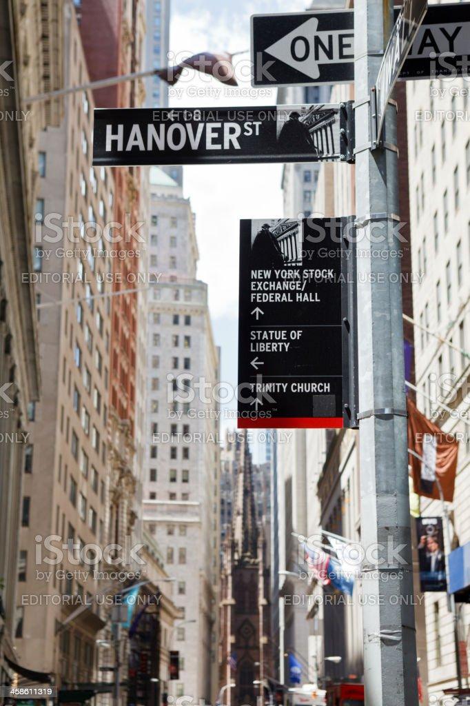 Landmark Signs at Hanover and Wall Street Lower Manhattan stock photo