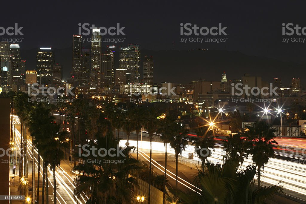 LA Landmark Skyline and busy Freeway royalty-free stock photo