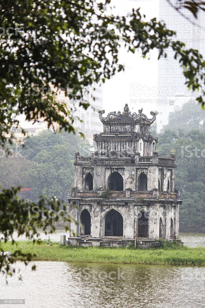Landmark - Tortoise Tower in Sword lake stock photo