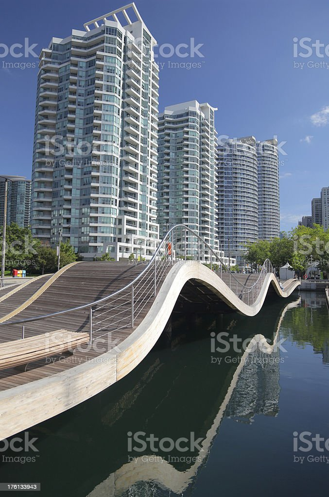 Landmark Waving walkway in Toronto City stock photo