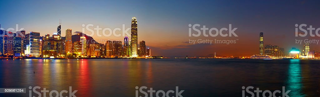 Landmarks Of Hong Kong Harbour 2012 stock photo