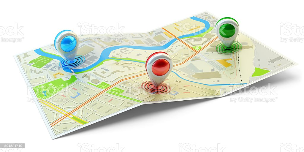 Landmarks positions, points of interest location, gps and navigation concept stock photo