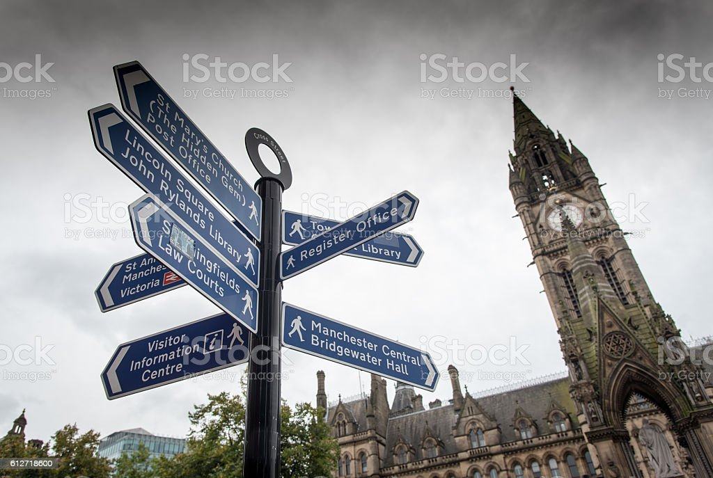 Landmarks signpost Manchester stock photo