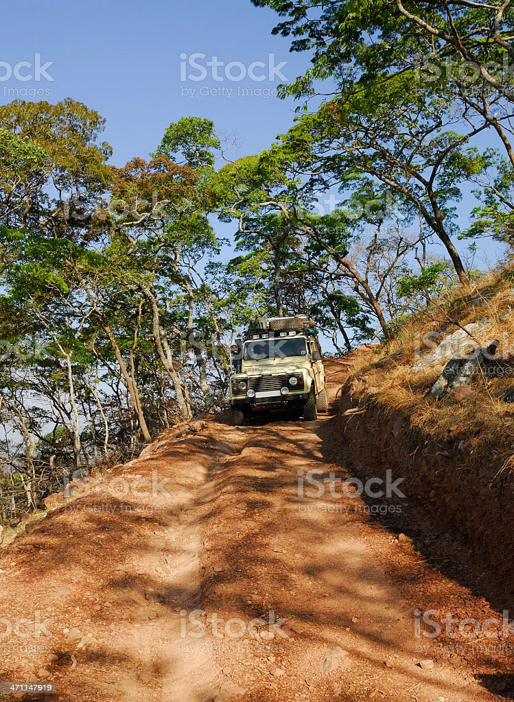 Landrover Descending Steep Hill royalty-free stock photo