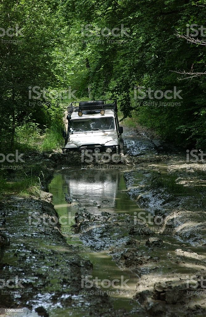 Landrover in the mud2 stock photo