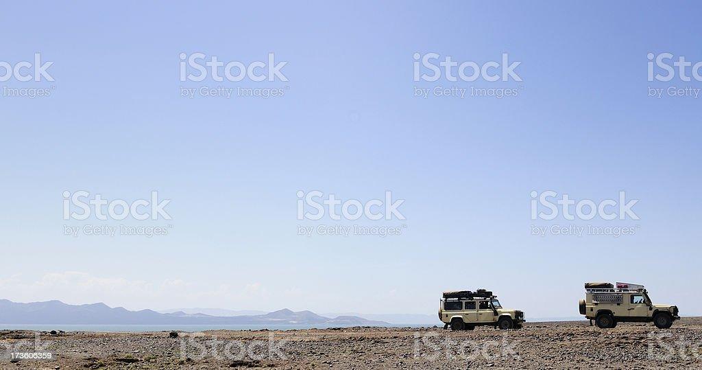 Landrovers in the Desert stock photo